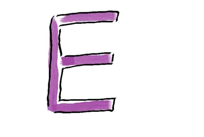 Der Buchstabe E aus den Wochen-Schreibtipps fürs Kreative Schreiben