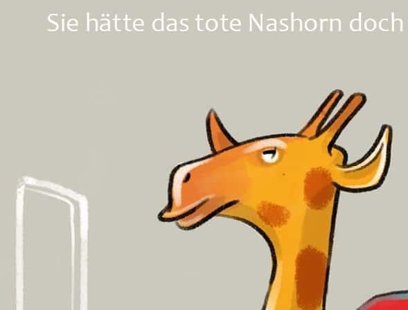 Mit Netzwerken zum Zug kommen: Literatur-Postkarte mit Volker Konrad und totem Nashorn