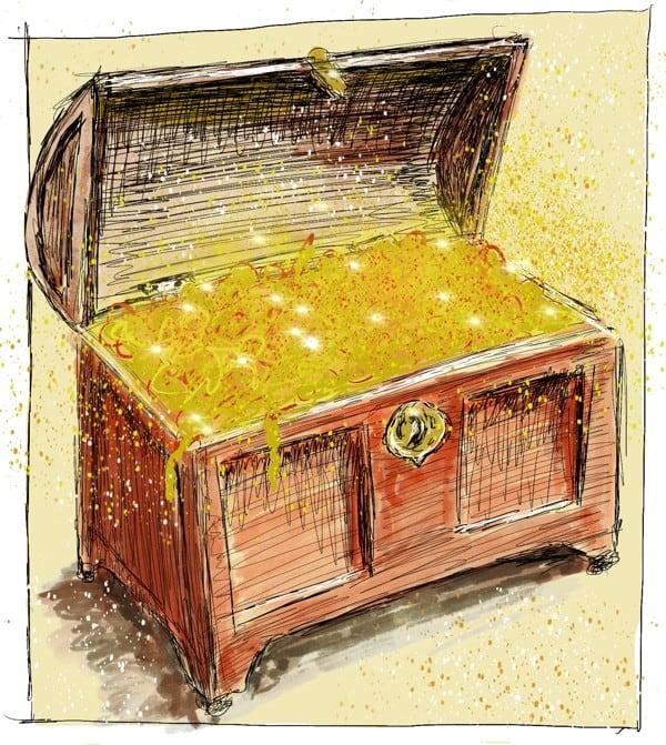 Märchen-Umschreibungen von Nina Bodenlosz: Schatztruhen-Illustration