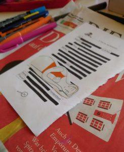 Blackout Gedichte entstehen bei den Textperimenten im Kreativ-Haus-Münster