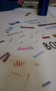 Wortcollagen bei den Textperimenten im Kreativ-Haus Münster