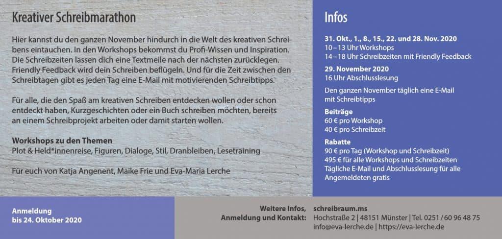 Das genaue Programm vom 3. Kreativen Schreibmarathon im Schreibraum Münster 2020